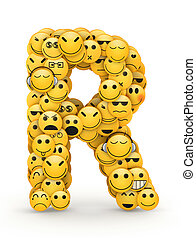 Emoticons letter R - Letter R compiled from Emoticons smiles...