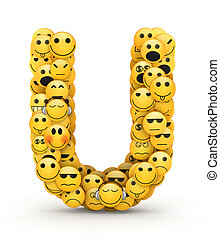Emoticons letter U - Letter U compiled from Emoticons smiles...