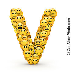 Emoticons letter V - Letter V compiled from Emoticons smiles...