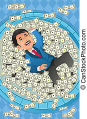 Financial concept of a happy businessman in a pool of money