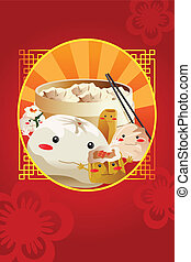 Chinese dim sum, used for restaurant menu cover