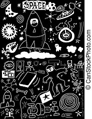 space doodle isolated on black
