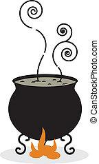 1727, -, silhouette, chaudron, brûler