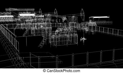 Abstract industrial archticture. Wire-frame render on black...