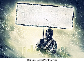 Nuclear future - Stalker in gas mask with blank banner....