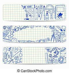 Banners with school and scientific doodles - Three vector...
