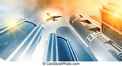 Plane in sky - Plane flying above skyscrapers. Business...