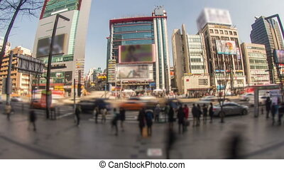 Seoul City Zoom 175 - 175) Zooming time lapse of traffic and...