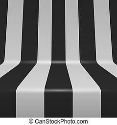 Black and white bent vertical stripes vector background.