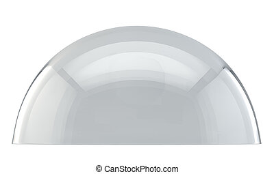 Glass dome side view isolated on white background.