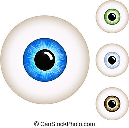 Human eye with color variants isolated on white background.