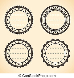 Blank vintage round quality labels vector illustration.