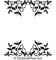 Plant Sprouts Frame Border Decoration - Stylized silhouettes...