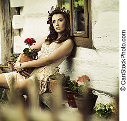 Pure brunette woman with flowers - Pure brunette lady with...