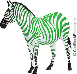 Zebra with strips of green color.