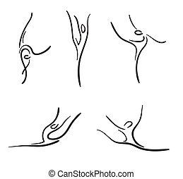 Rhythmic gymnastics Vector sketches set