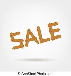 Sale, word made from wooden boards for your design