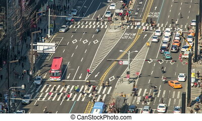 Seoul City Zoom 178 - 178) Zooming time lapse of traffic and...