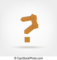 Question mark made from wooden boards for your design