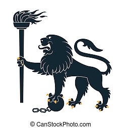 Heraldic lion with torch - Black heraldic lion with torch...