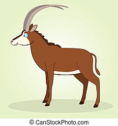 Sable Antelope - Vector Illustration of Cartoon Sable...