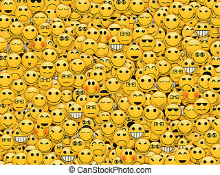 Community or society in internet concept - Wall of smiles...