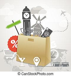 Travel illustration. Season shopping tour