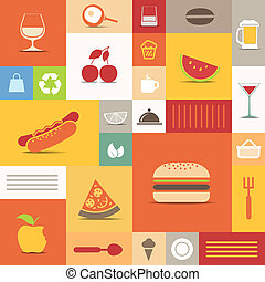 Color tiles with food icons collection