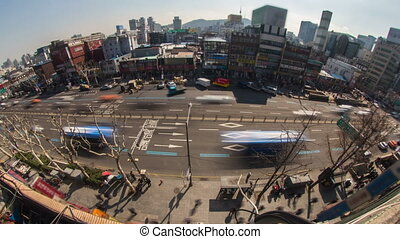 Seoul City 179 - 179) Time lapse of traffic and architecture...