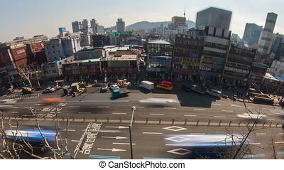 Seoul City Zoom - Zooming time lapse of traffic and...