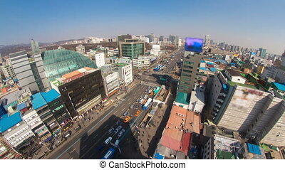 Seoul City 180 - 180) Time lapse of traffic and architecture...