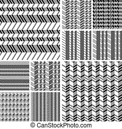 Set of geometrical seamless flat pattern with 3d illusion...