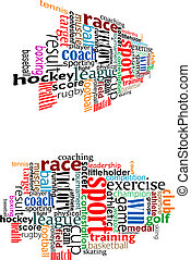 Sport tag cloud for web design, fitness, healthy lifestyle...