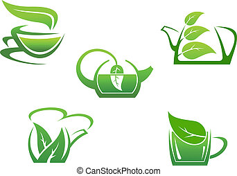 Green herbal tea cups isolated on white background
