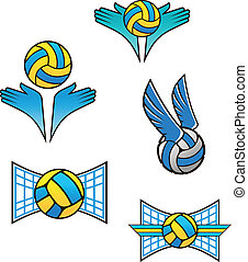 Volleyball sports symbols and icons set for design