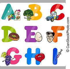 Education Cartoon Alphabet Letters for Kids - Cartoon...