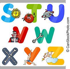 educazione, cartone animato, alfabeto, lettere, bambini
