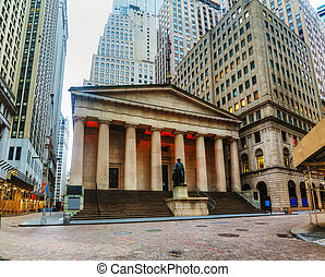 Federal Hall National Memorial on Wall Street in New York in...