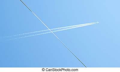 Track behind the airplane - The track behind the airplane in...