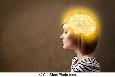 Young girl thinking with glowing brain illustration on...
