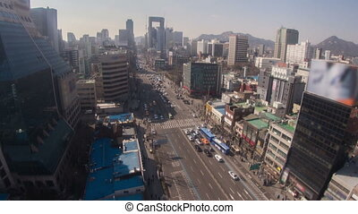 Seoul City Zoom 181 - 181) Zooming time lapse of traffic and...