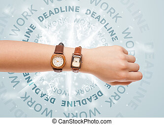 Clocks with work and deadline round writing concept