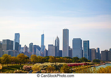 Downtown Chicago, IL in the morning - CHICAGO - MAY 18:...