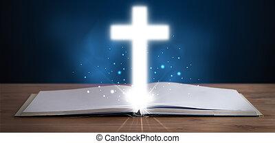 聖書, 神聖, 交差点, 中央, 白熱, 開いた