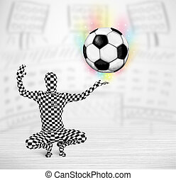 man in full body suit holdig soccer ball - Funny man in full...