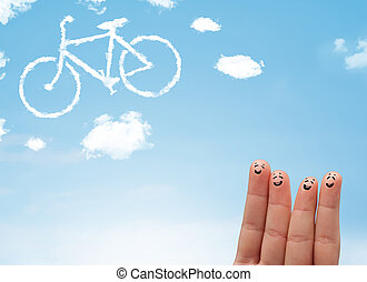 Happy smiley fingers looking at a bicycle shapeed cloud -...