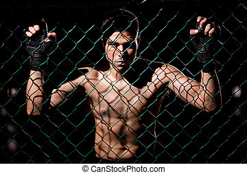 Fearles MMA Fighter ready to fight - Dramatic portrait of a...