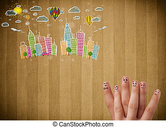 Happy smiley fingers looking at colorful handrawn cityscape