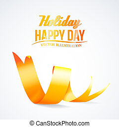 Yellow ribbon isolated in white. Vector illustration.