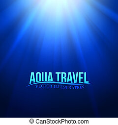 Underwater sunrays for aqua travel design. Vector...